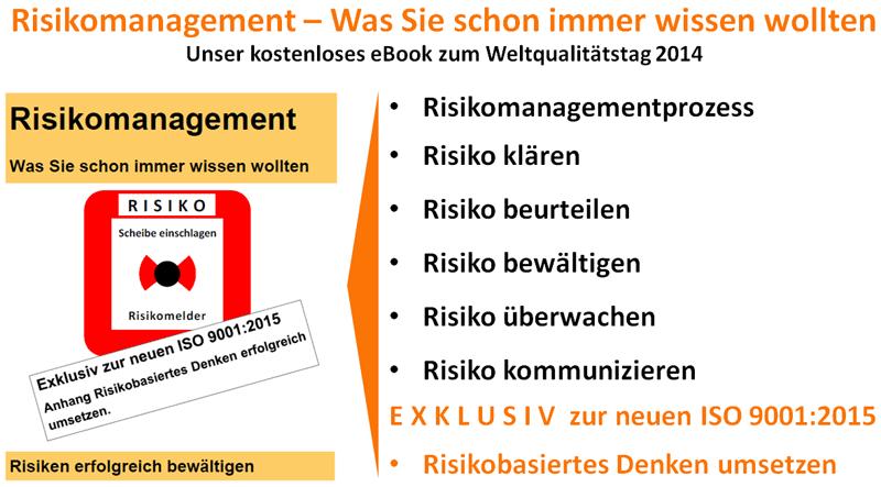 Weltqualitaetstag 2014, ISO/DIS 9001:2014, ISO 9001:2015 - Risikomanagement, Risikomanagementprozess, Risiko klären, Risikokontext klären, Risikofelder klären, Risiko ermitteln, Risiko analysieren, Risiko bewerten, Risiko beurteilen,  Risiko bewältigen, Risiko steuern, Risiko vermeiden, Risiko vermindern, Risiko übertragen, Risiko teilen, Risiko selbst tragen, Risiko akzeptieren, Risiko kompensieren, Risiko überwachen, Risiko kommunizieren, Risiko Lernprozess, risikobasiertes Denken, risikobasierter Ansatz, Risiko und Kontext Unternehmensumfeld - Kirsch Managementsysteme Interim Management & Consulting in Niestetal, Kassel, Hessen