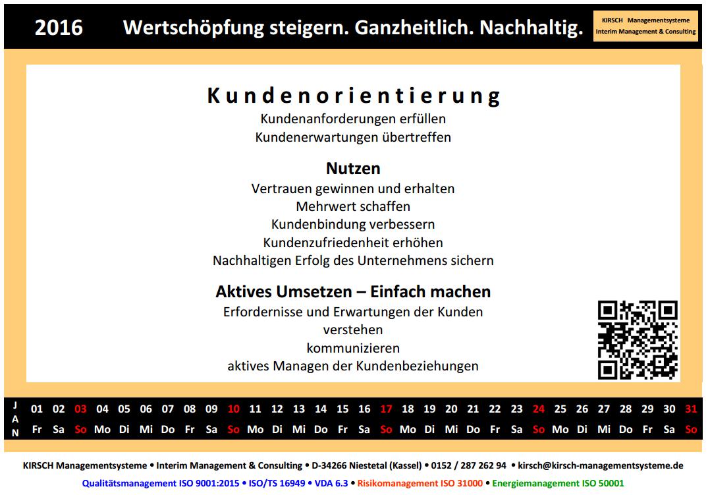 ISO 9001:2015 - Grundsaetze des Qualitaetsmanagements - Kundenorientierung, Führung, Einbeziehung Personen, Prozessorientierter Ansatz, Verbesserung, Faktengestützte Entscheidungsfindung oder Entscheidung, Beziehungsmanagement - Kirsch Managementsysteme Interim Management & Consulting in Niestetal, Kassel, Hessen